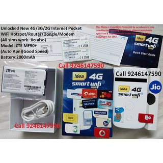 ALL GSM SIMS JIO Also Unlocked MF90+ 4G(SupportBoth TDDFDD)/3G/2G WiFi MiFi  Hotspot/Router/Dongle/Modem/Internet 2000mA