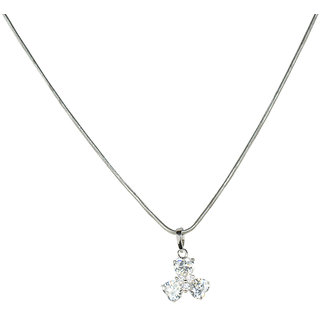 Glitters Silver Rhodium Fashion CZ Pendant with Chain for Women