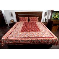 Jodhaa Set In Cotton Printed Allover In Orange & Brown Double Bedsheet