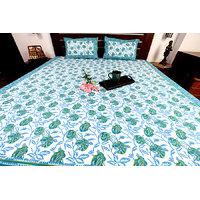 Jodhaa Set Cotton Printed In White, Blue & Green Double Bedsheet