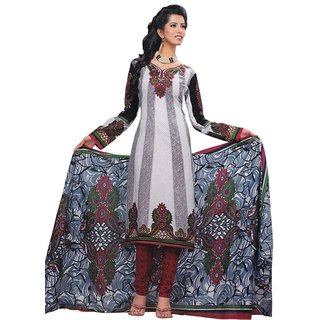 Salwar Studio White & Maroon Cotton Unstitched Churidar Kameez With Dupatta (S-9101)
