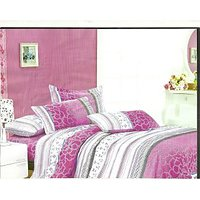 RIGA Baby Pink & Pure White Double Bedsheet Set With Two Pillow Covers
