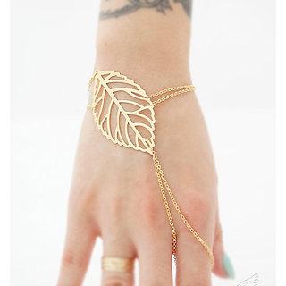 Veronique- Gold Leaf Cut Hand Chain Ring Bracelet - 1Qty