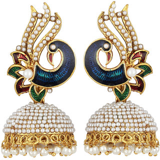 Styylo Fashion Exclusive Golden White Green Maroon Blue Multi Colour Earrings. M-1421
