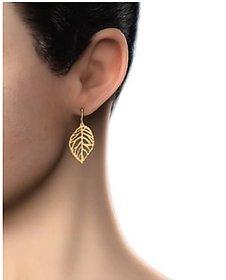 Veronique- Gold Leaf Cut Dangle Long Earrings For Women  - 1 Qty
