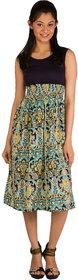 Bohemian Fashion Style Vintage Print  Chiffon Print Work Long Dress