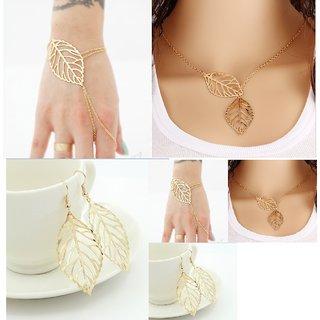 VeroniQ- Combo Deal Gold Leaf Cut Danglers , Chain Necklace, Hand Chain Bracelet For Women