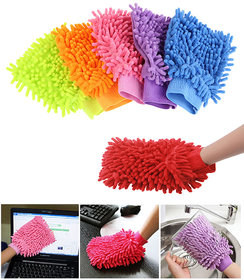 Microfibre Super Mitt Double-sided Home Cleaning Gloves (Assorted Colour) 4 pcs