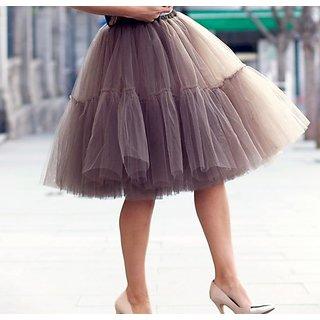 Rimsha Grey net gathered skirt