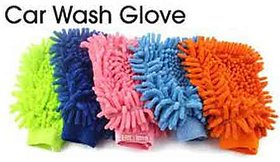 Microfibre Super Mitt Household Cleaning Gloves (Assorted Colour) - 4 Pcs