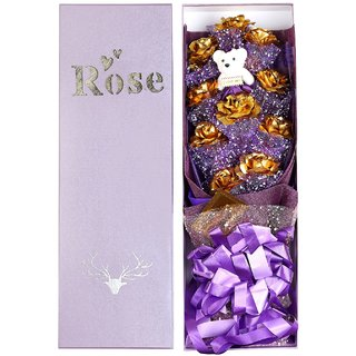 24K Gold 10 Roses, 1 Teddy Bouquet With Gift Box