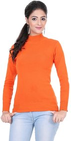 Renka Knitted Winter Pullover top - Orange Color - Women causal Wear