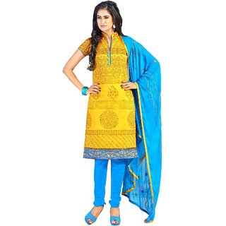 The Chennai Silks - Chanderi Silk Unstitched Dress Material - Yellow -  (CCDMBB22001)