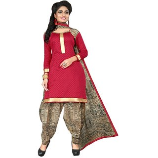 The Chennai Silks - Italian Crepe Unstitched Dress Material - Red -  (CCDMHP2001)