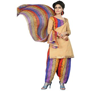 The Chennai Silks - Chanderi Cotton Unstitched Dress Material - Beige -  (CCDMHP2005)
