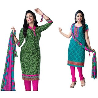 The Chennai Silks - Italian Crepe Unstitched Dress Material - Green -  (CCDMRMT1008)