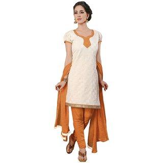 The Chennai Silks - Chanderi Cotton Unstitched Dress Material - Off White -  (CCDM7011)