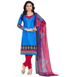 The Chennai Silks - Italian Crepe Unstitched Dress Material - Blue -  (CCDM5004)