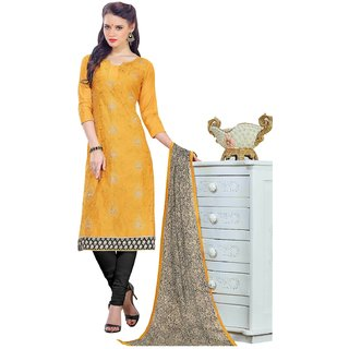 The Chennai Silks - Chanderi Silk Unstitched Dress Material - Mustard -  (CCAKS11005)