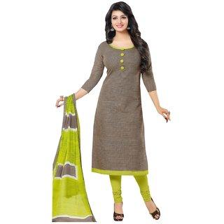 The Chennai Silks - Chanderi Silk Unstitched Dress Material - Brown -  (CCHAR1006)
