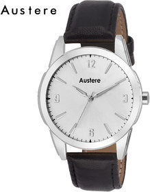 Austere Silver Round Dial Black Leather Strap Analog Casual Watch For Men (MARST-0102)