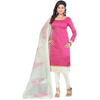 The Chennai Silks - Chanderi Silk Unstitched Dress Material - Pink -  (CCDAV23001)