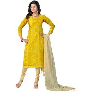 The Chennai Silks - Chanderi Silk Unstitched Dress Material - Yellow -  (CCDAV23004)
