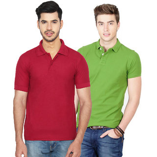Ansh Fashion Wear Men'S Cotton Blend Polo T-Shirt Pack Of 2