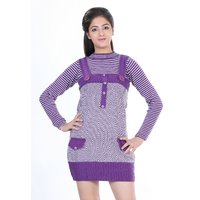 Renka Fancy Purple Knitted Winter Tops - (L)