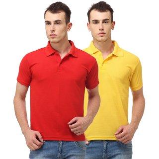 Ansh Fashion Wear Cotton Blend Polo T-Shirt Pack Of 2