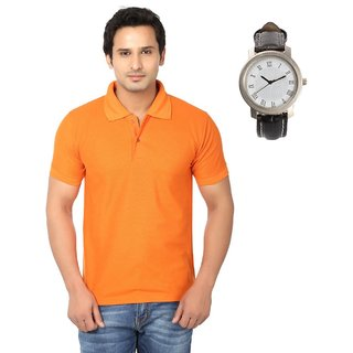 Ansh Fashion Wear Cotton Blend Polo T-Shirt With Watch