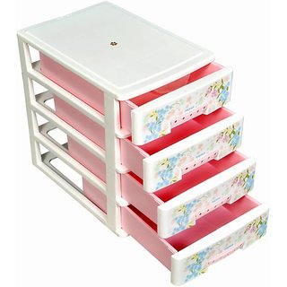 Nayasa Deluxe Tuckins-14 Plastic Storage Drawer, 4 Drawers, Pink
