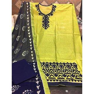 Pooja Fashion Chanderi silk shirt wd apliqu work cotton bottom chiffon duppta