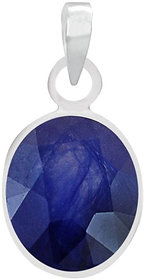 Natural Blue Sapphire (Neelam) Silver Pendant 3.25 Ratti or 2.96 Carat for Male and Female