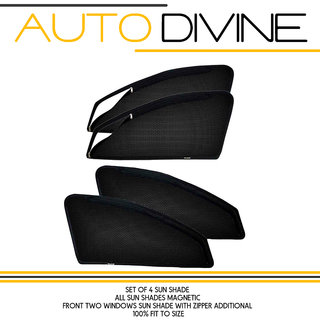 MARUTI SUZUKI A STAR, Car Accessories Side Window Zipper Magnetic Sun Shade, Set of 4 Curtains.