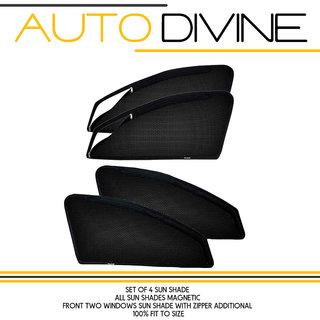 MARUTI SUZUKI ZEN ESTILO, Car Accessories Side Window Zipper Magnetic Sun Shade, Set of 4 Curtains.