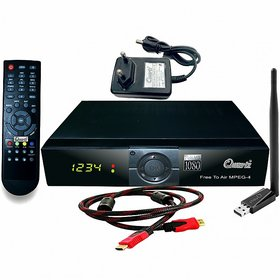 Quartz Wi-Fi MPEG-4 Full HD PVR(Free to Air) Digital Satellite Receiver(DTH Set Top Box) With Wi-Fi Dongle  HDMI Cable