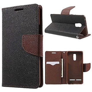 Mobimon Luxury Mercury Diary Wallet Style Flip Cover Case For Lenovo Vibe K6 Power - Black  Brown
