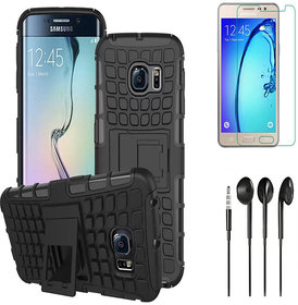 Tough Armor Defender Kick Stand Case with HD Tempered Glass and Noise Cancellation Earphones for Reliance Jio KYF Flame 2