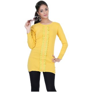 7bba505e34c Buy Renka Casual Yellow Knitted Winter Tops - (L) Online- Shopclues.com