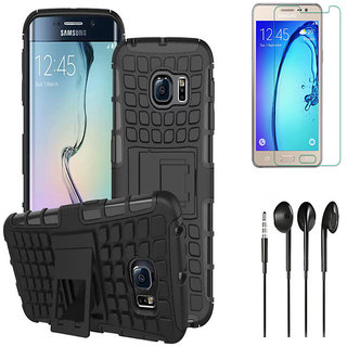 Tough Armor Defender Kick Stand Case with HD Tempered Glass and Noise Cancellation Earphones for Samsung Galaxy Grand Prime G530