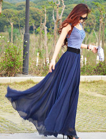 Raabta Fashion Blue Plain Flared Skirt For Women