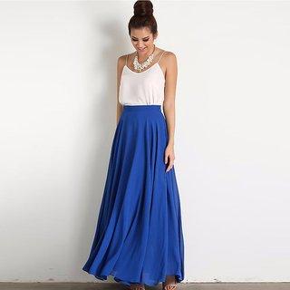 Raabta Fashion Blue Plain Flared Skirt For Women WIth Elastic
