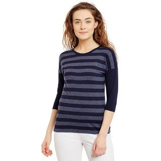 b65e9e724d6f6 Buy Hypernation Striped Women s Round Neck Blue