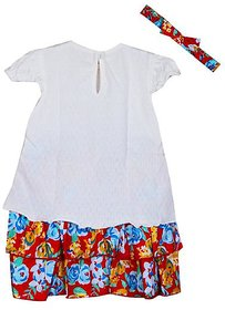 Knitted Dobby Top with Printed Skirt With Handband - White / Red Printed Skirt ( 0-3 Month )