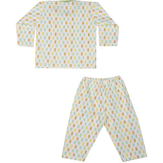 Teddy Print Night Suit - Green ( 0-3 Month)