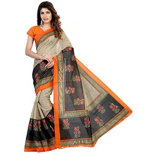 Meia Beige Art Silk Block Print Saree With Blouse