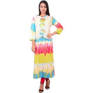 Pinky Pari Designer Printed Straight Fit Rayon Kurti With Chanderi Jacket