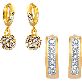 7f3b5ac3f Buy Mahi Gold Plated Combo of Two Stud Earrings with Crystals For Women  Online   ₹1199 from ShopClues