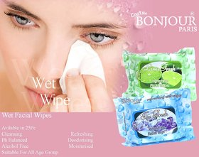 Bonjour Paris Refreshing Wet Facial Wipes - Ice And Lime